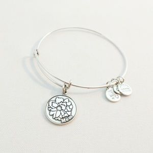 "Alex and Ani Silver ""Mom"" Charm Bracelet"